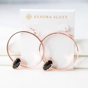 Kendra Scott Elora Rose Gold Hoop Earrings Black